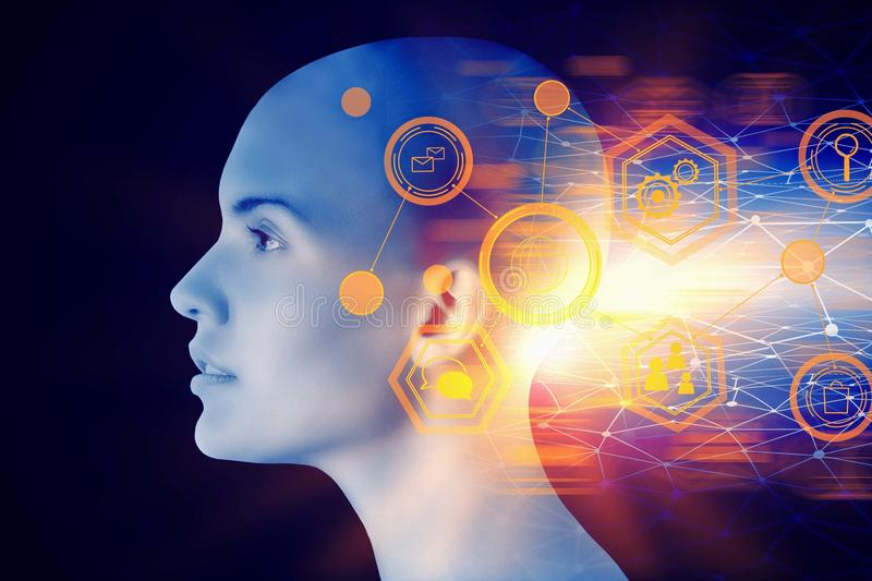 Artificial intelligence and future concept. Female cyborg head with abstract digital interface. Artificial intelligence and future concept. Double exposure royalty free stock photography