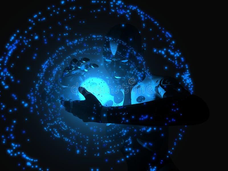 Download Female Cyborg Summons Energy Stock Illustration - Image: 7592813