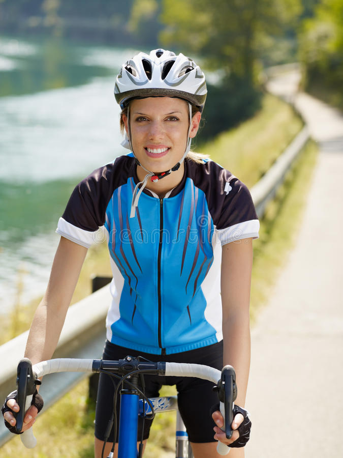 Female cyclist royalty free stock photos