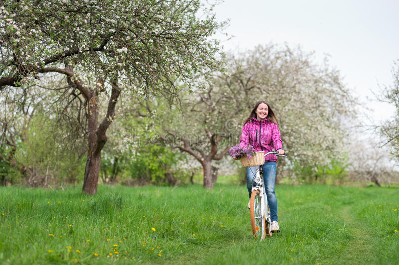 Female cyclist riding a vintage white bicycle in spring garden. Smiling brunette woman wearing purple jacket and jeans riding a vintage white bicycle with stock image