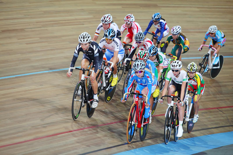 Female Cyclists Ride On Track Editorial Image