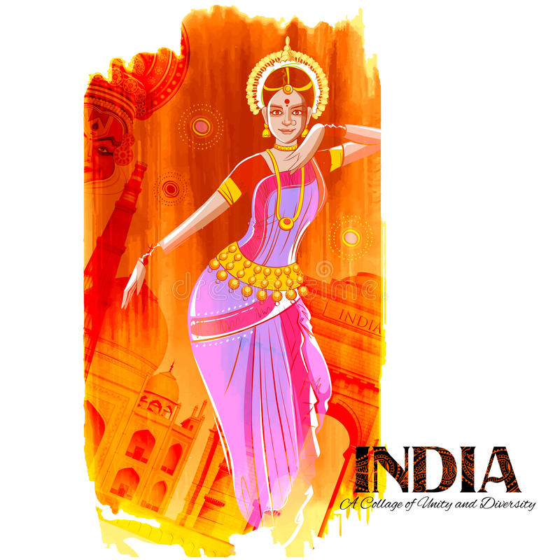 Female dancer dancing on Indian background showing colorful culture of India stock illustration