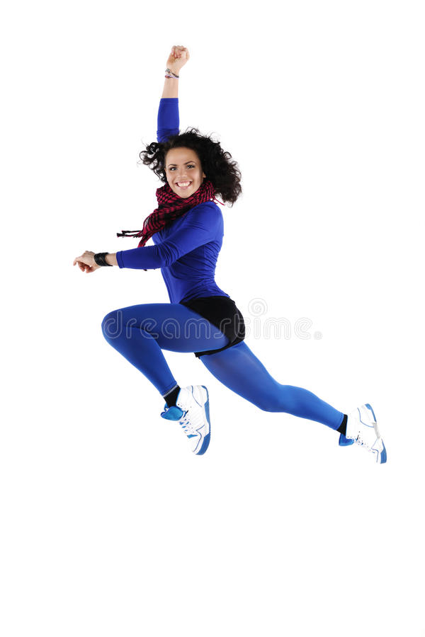 Female dancer jumping. Isolated on a white background stock image