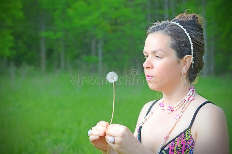 Female Dandelion Portrait royalty free stock image