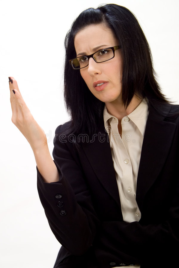Female Debating. Or discussing holding up hand stock photos