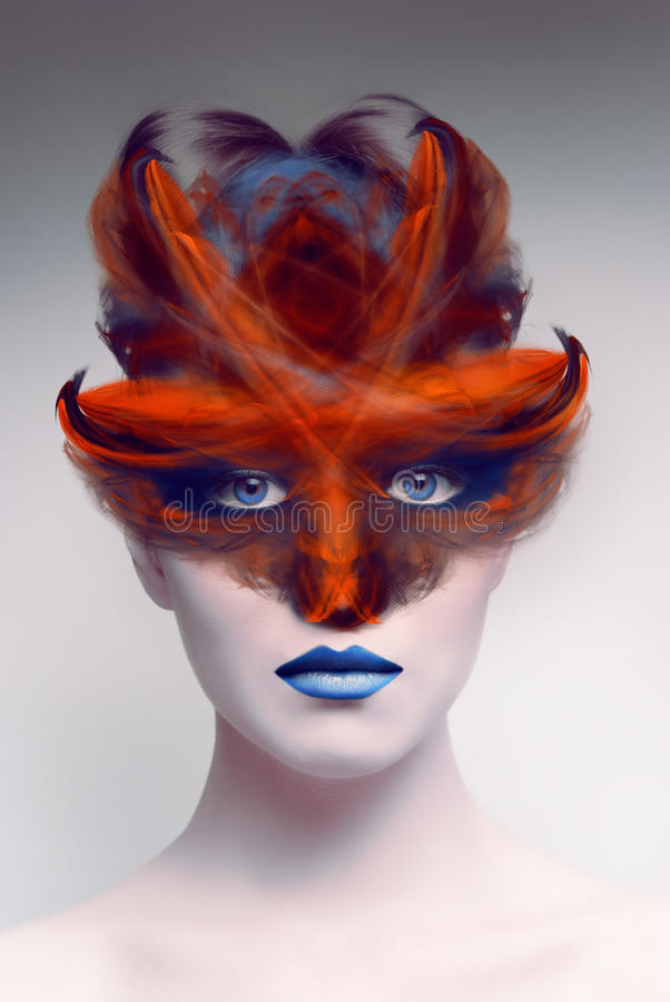 Female demon face with mask. Art concept. stock illustration