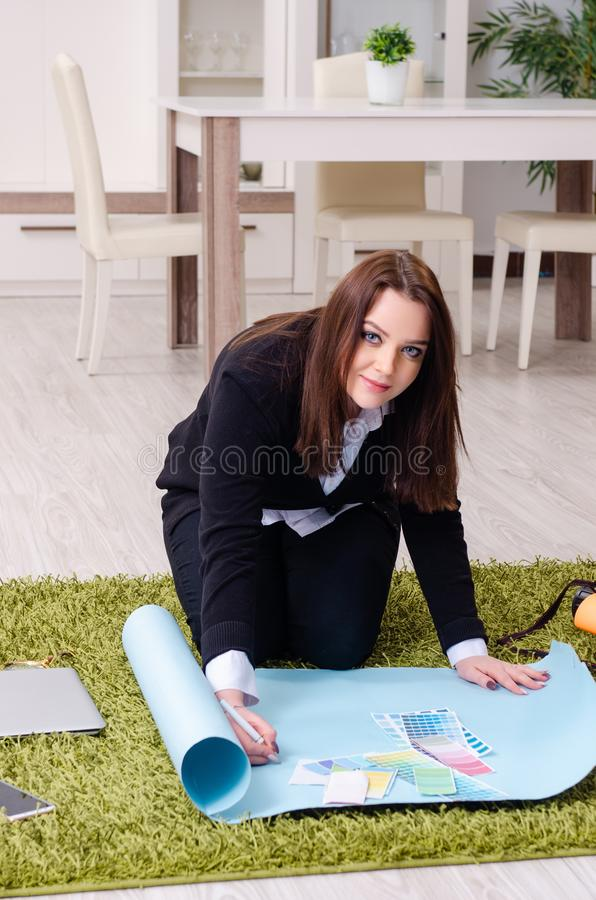 Female designer working in the office. The female designer working in the office stock images