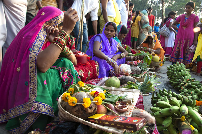 Female devotees. Women performing rituals during Chhath puja, the festival to worship The Sun god in India royalty free stock photography