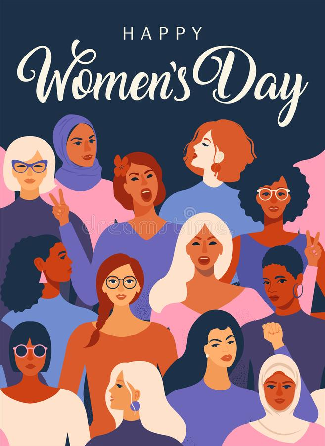 Female diverse faces of different ethnicity poster. Women empowerment movement pattern. International womens day graphic stock illustration