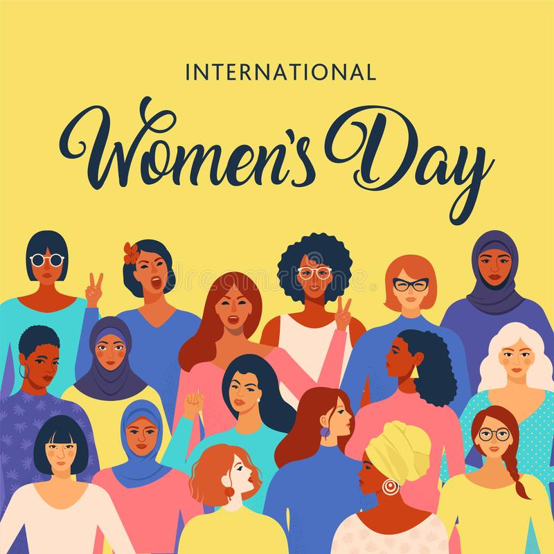 Female diverse faces of different ethnicity poster. Women empowerment movement pattern. International womens day graphic vector illustration