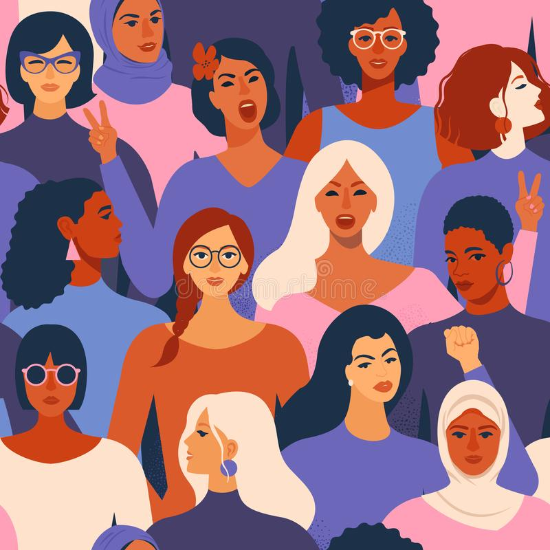 Female diverse faces of different ethnicity seamless pattern. Women empowerment movement pattern. International womens day graphic stock illustration