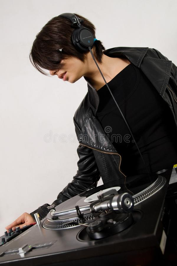 Female Dj At The Turntables Free Stock Photography