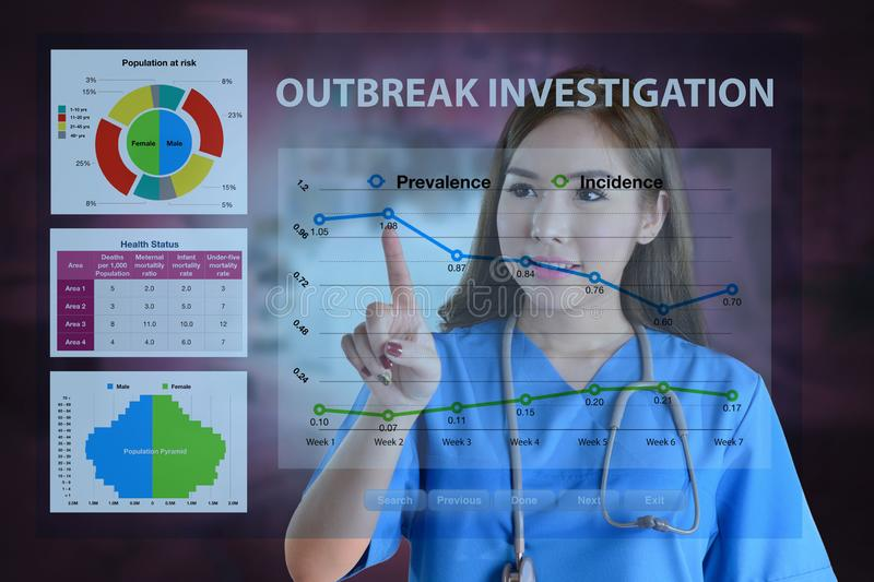 Female doctor working on data analysis for outbreak investigation royalty free stock image