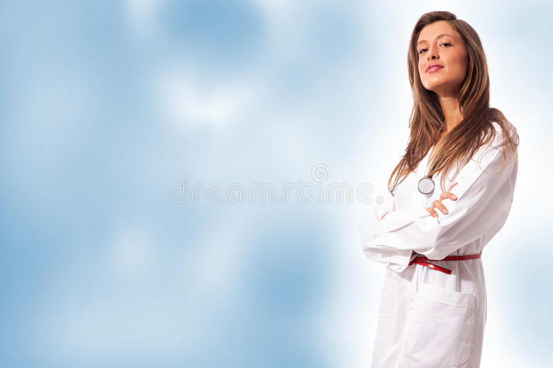 Female Doctor on colorful background royalty free stock photography