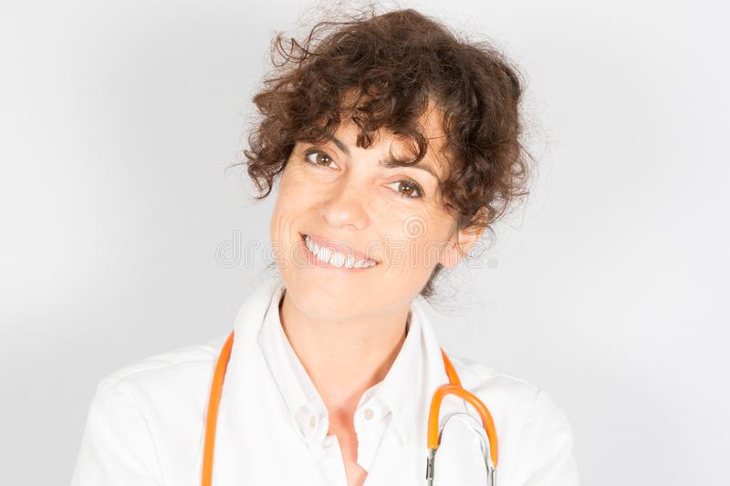 Female doctor curly happy smiling stock photo