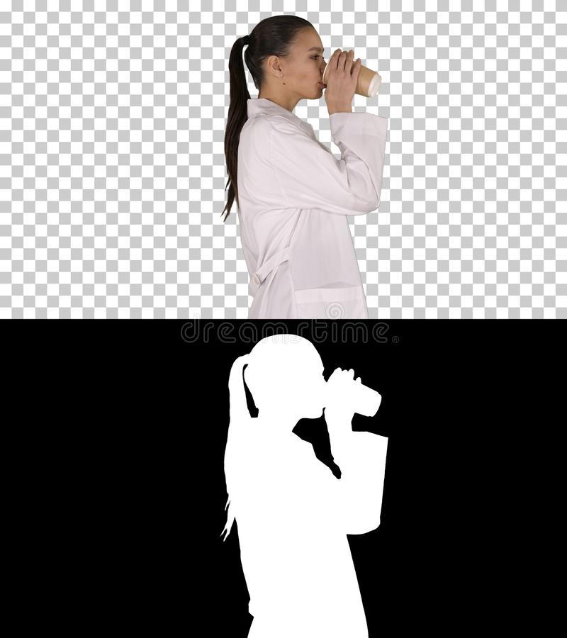 Female doctor drinking coffee and walking, Alpha Channel royalty free stock images