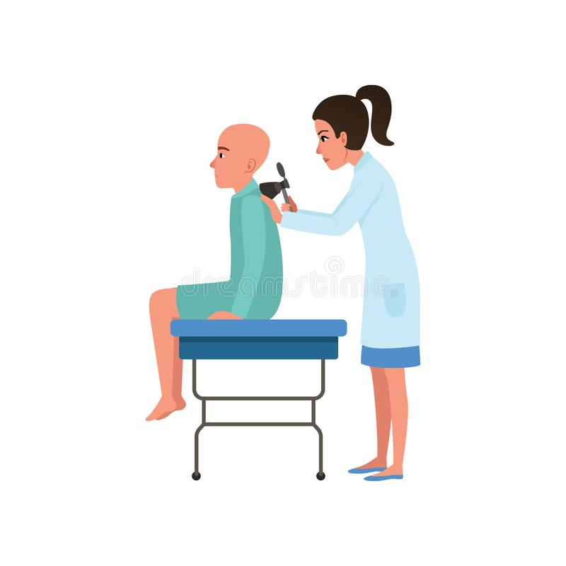 Female doctor examining male patient with cancer, man with oncologic disease, oncology therapy, treatment vector. Illustration isolated on a white background stock illustration