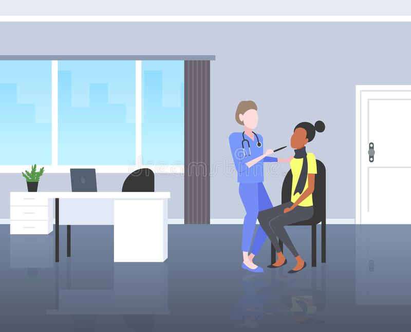 Female doctor examining throat of african american woman patient by depressor sore medicine healthcare concept modern. Hospital room interior horizontal full royalty free illustration