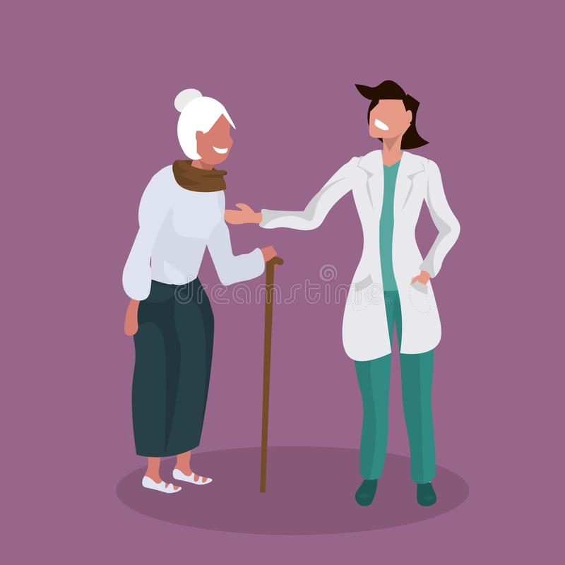 Female doctor explaining prescription to senior patient physician supporting elderly woman with walking stick healthcare. Concept flat full length vector vector illustration