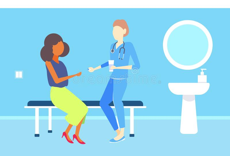 Female doctor giving medications pills to african american woman patient consultation medicine and healthcare concept. Clinic room interior flat horizontal royalty free illustration