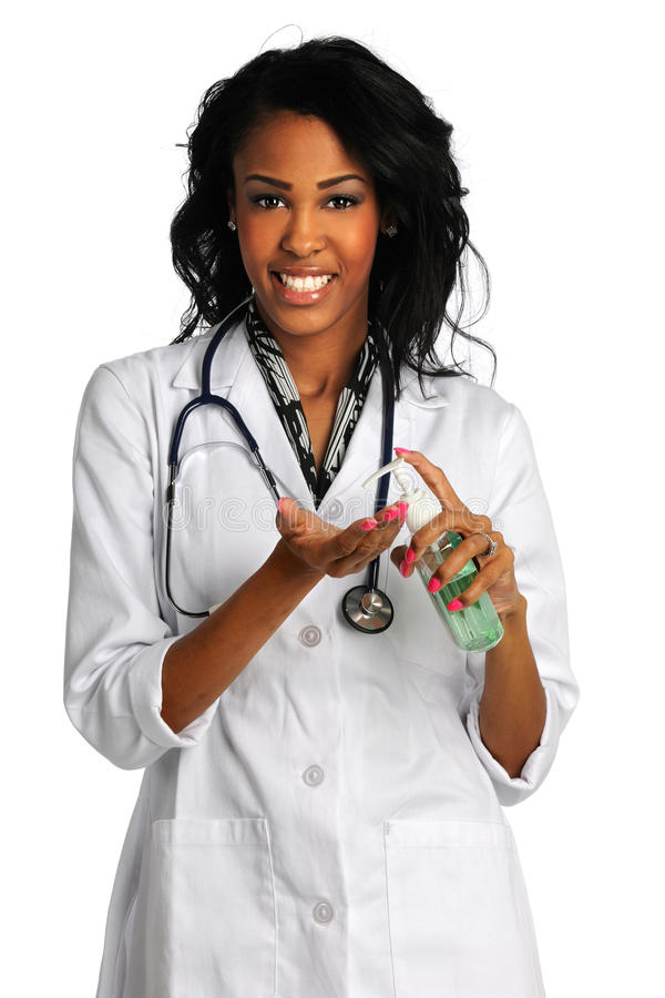 Female Doctor With Hand Sanitazer stock photos