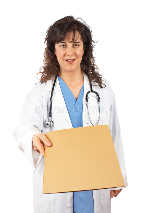 Female Doctor Handing Dossier Royalty Free Stock Photography