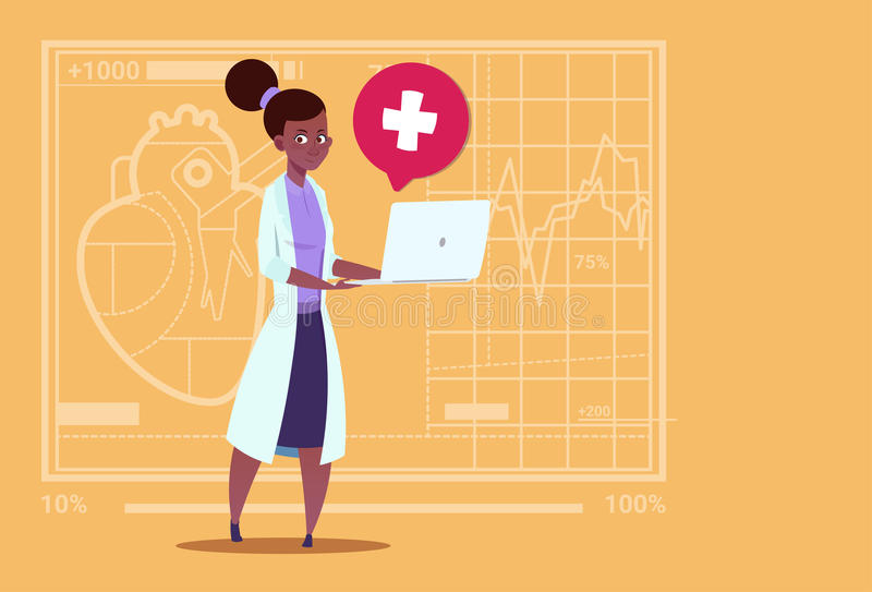 Female Doctor Hold Laptop Computer Online Consultation Medical Clinics African American Worker Hospital. Flat Vector Illustration stock illustration