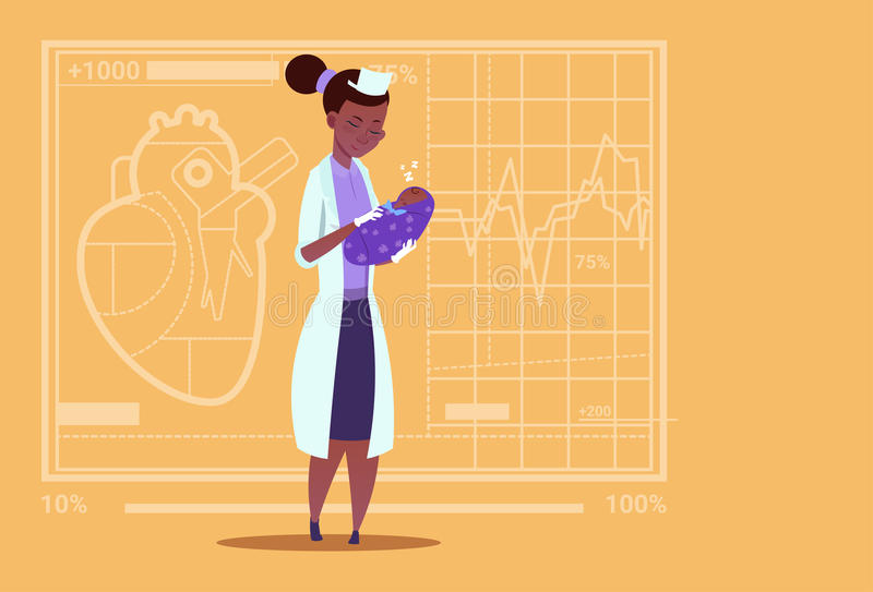 Female Doctor Hold Newborn Baby Boy Medical Maternity Clinics African American Worker Hospital. Flat Vector Illustration royalty free illustration