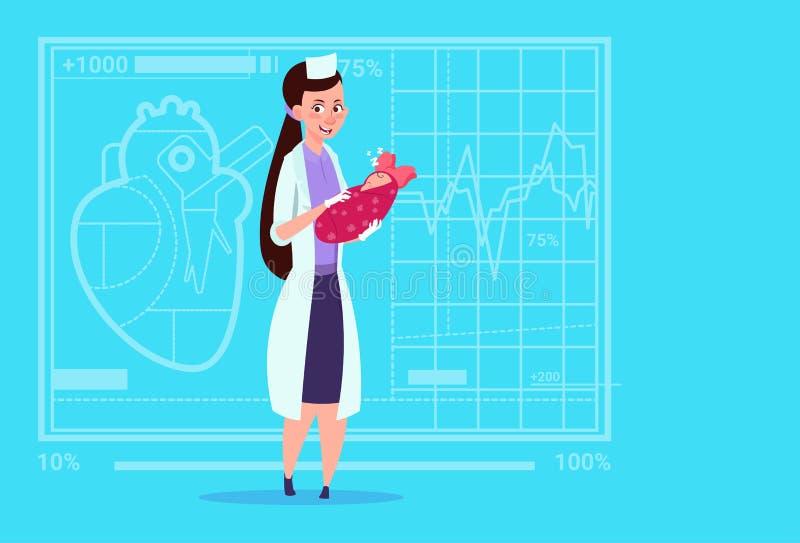 Female Doctor Hold Newborn Baby Girl Medical Maternity Clinics Worker Hospital. Flat Vector Illustration vector illustration