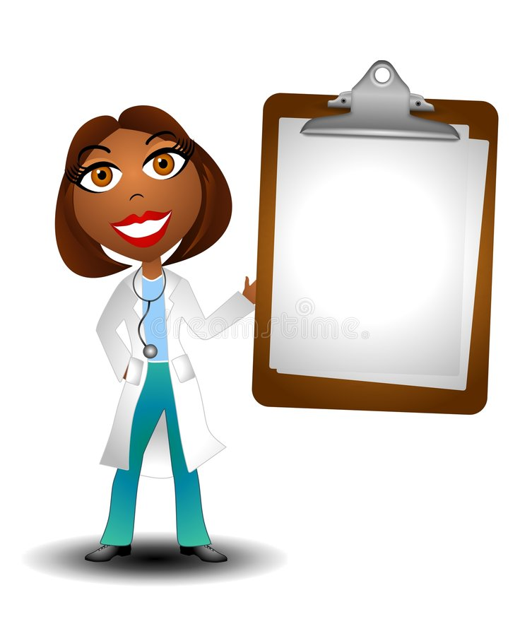 Female Doctor Holding Blank Chart 2. An illustration featuring a female african american doctor holding a blank chart royalty free illustration