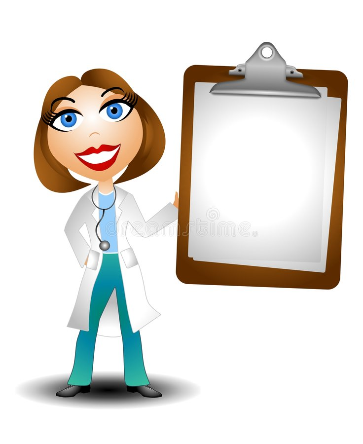 Female Doctor Holding Blank Chart. An illustration featuring a female caucasian doctor holding a blank chart stock illustration