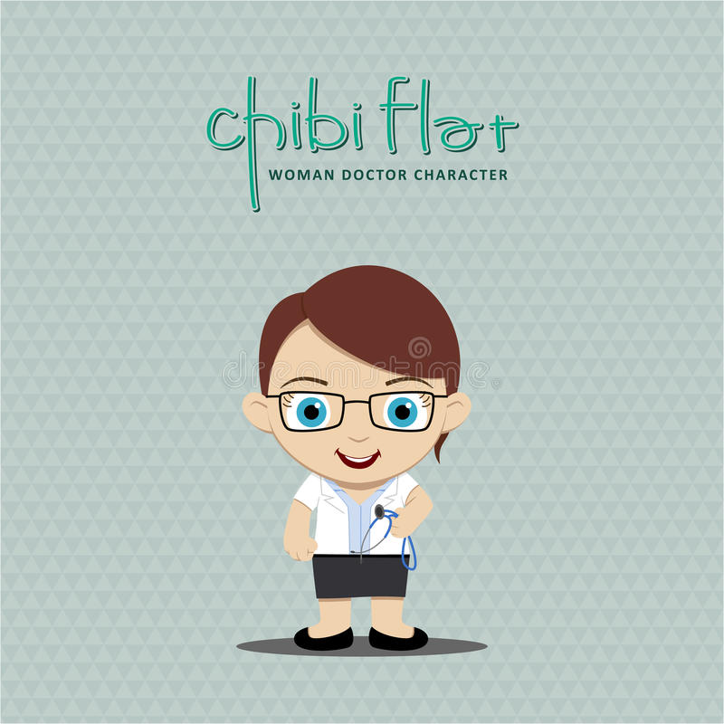 Female doctor holding a stethoscope. Flat Character vector illustration