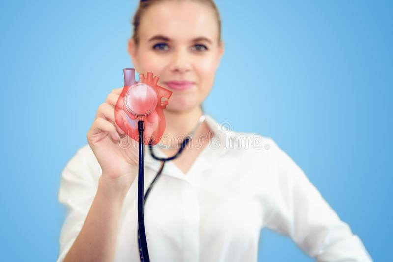 Female Doctor is Holding Stethoscope for Heart Model Check Up in Laboratory, Close Up of Scientist Practitioner Analyzing Health. Female Medical Doctor is royalty free stock images