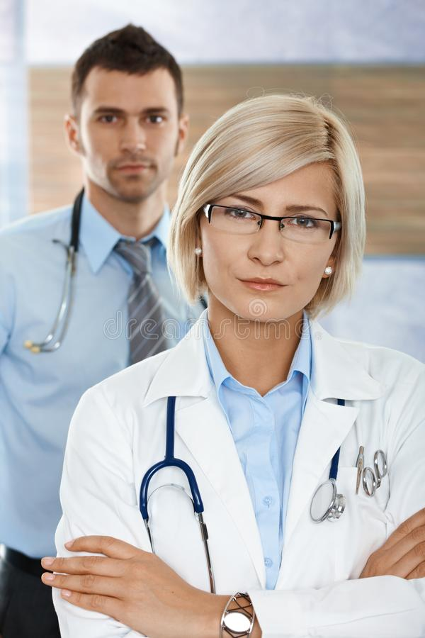 Female doctor on hospital corridor royalty free stock photo