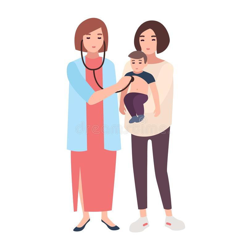 Female doctor, medical adviser or pediatrician listening with stethoscope heart beat of little boy held by his mom. Visit to clinic or hospital. Colorful royalty free illustration
