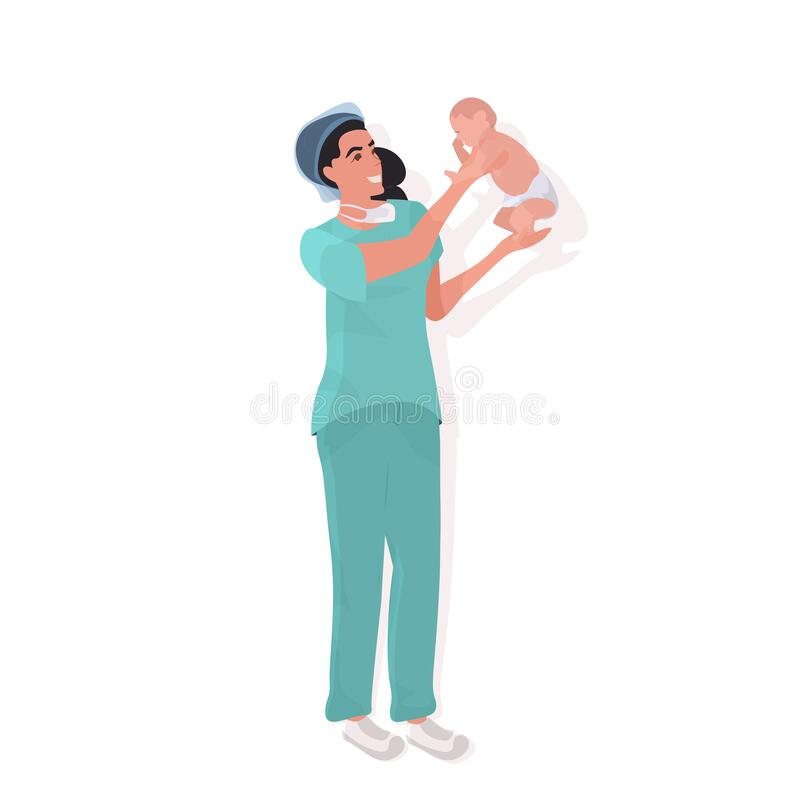 Free Female Doctor Midwife In Uniform Holding Newborn Baby Medical Maternity Hospital Clinic Worker With Little Child Stock Photo - 215633430