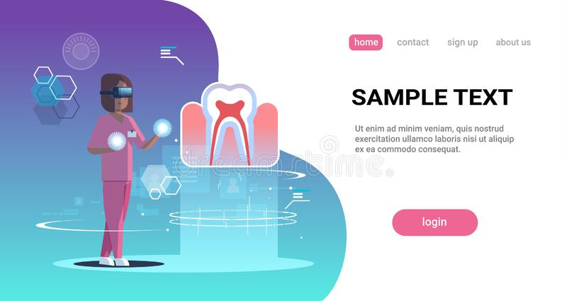 Female doctor nurse wearing digital glasses looking virtual reality tooth human organ anatomy medical vr headset vision. Concept full length horizontal copy stock illustration