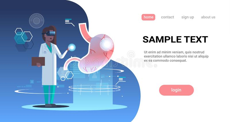 Female doctor nurse wearing digital glasses touching virtual reality stomach human organ anatomy medical vr headset. Vision concept full length horizontal copy stock illustration
