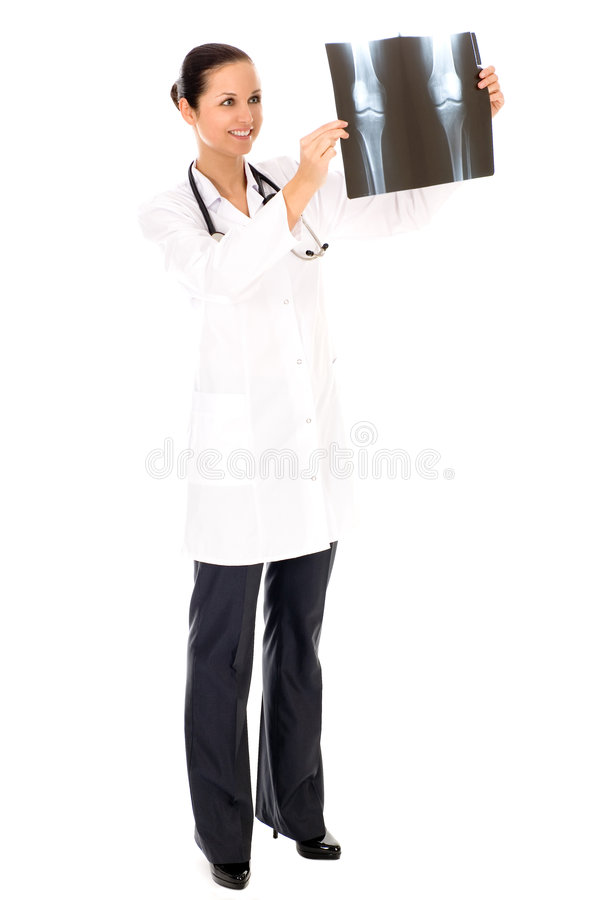 Female doctor with x-ray stock photos