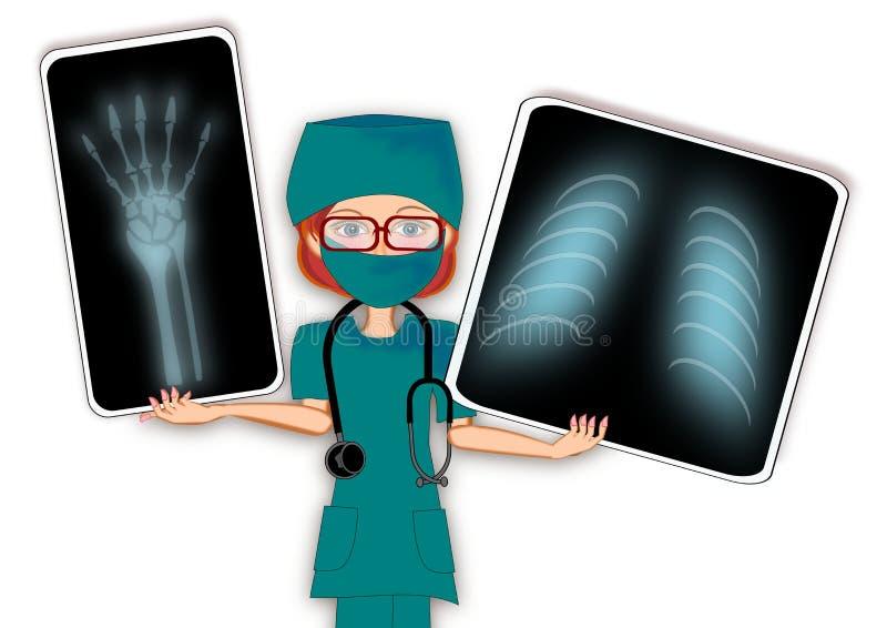 Female doctor x ray stock illustration