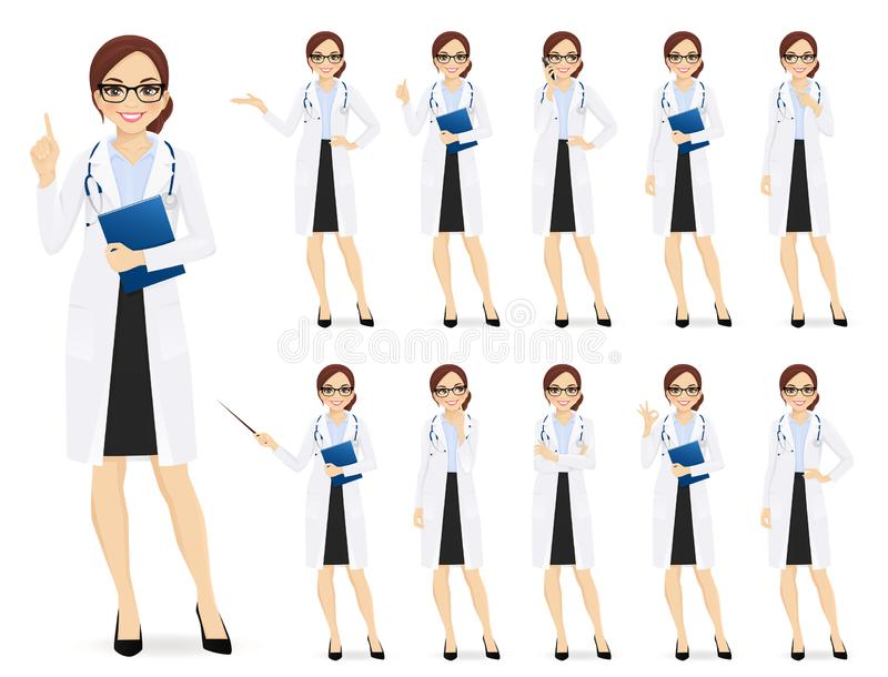 Female doctor set vector illustration