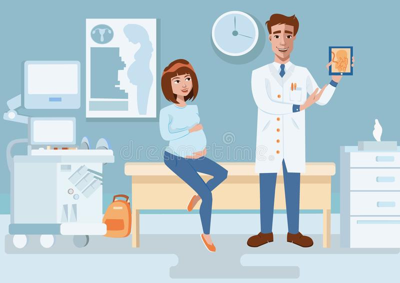 Female doctor shows ultrasonic image of baby to young pregnant woman in gynecology room. vector illustration