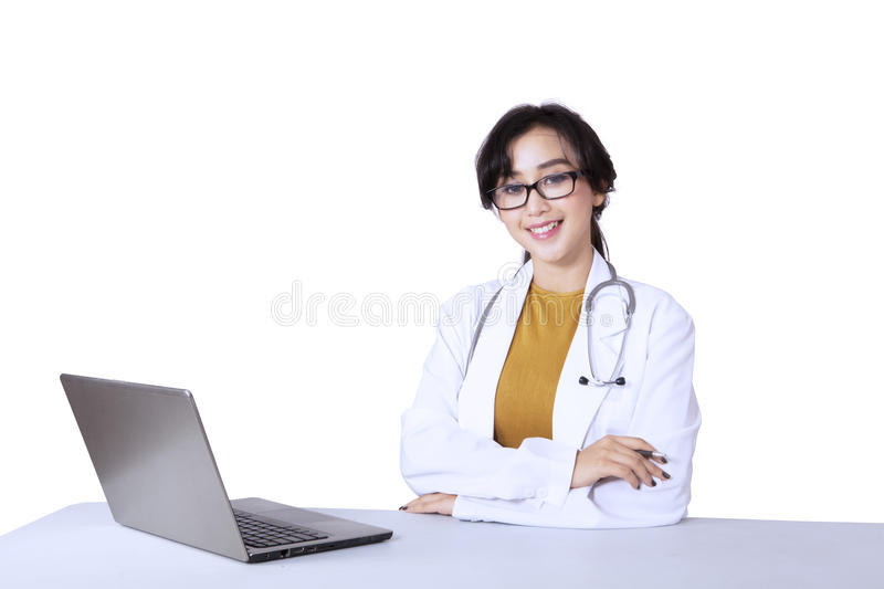 Young Pretty Woman Doctor Sitting