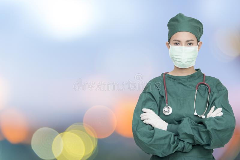 Female doctor,surgeon,nurse,pharmacy with stethoscope.Healthcare and medical concept ,test results,color,selective focus stock photos