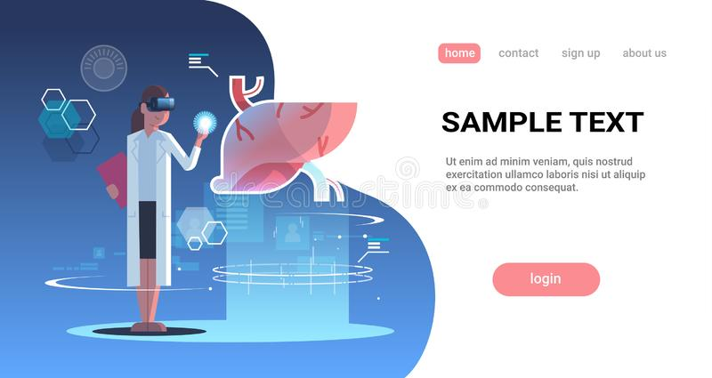 Female doctor wearing digital glasses touching virtual reality liver human organ anatomy medical vr headset vision. Concept full length horizontal copy space vector illustration
