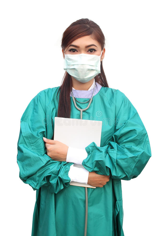 Female doctor with medical report stock image