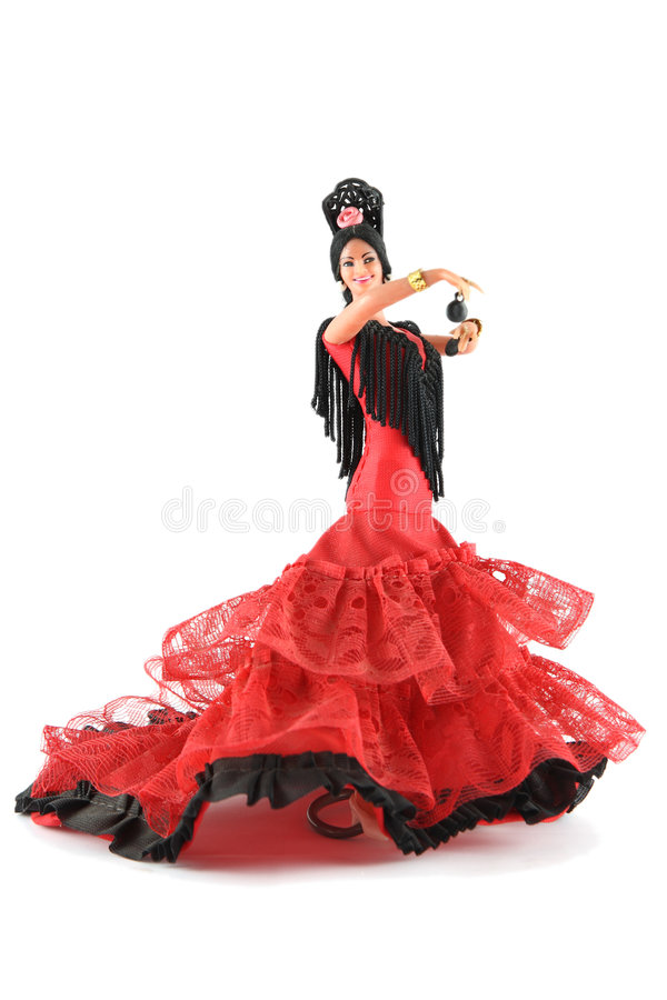 Female doll from Spain dancing stock image