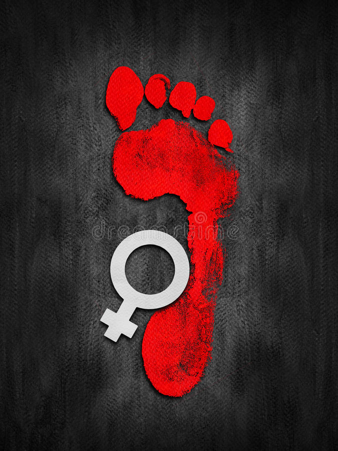 Female Domestic Violence. Abstract illustration with red footprint and female symbol on grungy black background. Design for 25th November, International Day for royalty free illustration