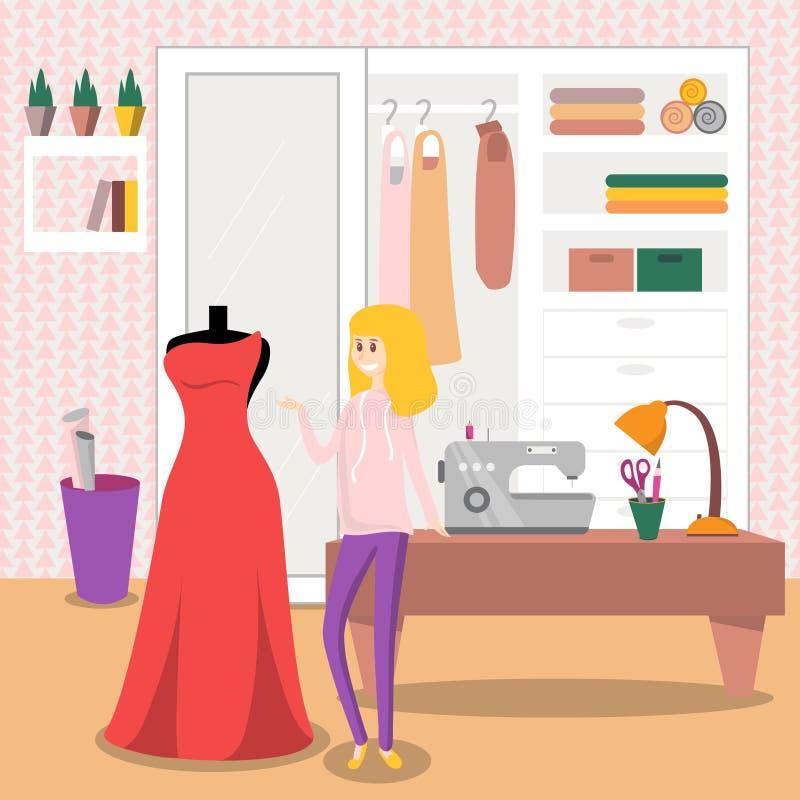 Female dressmaker sewing elegant red dress for her customer vector illustration
