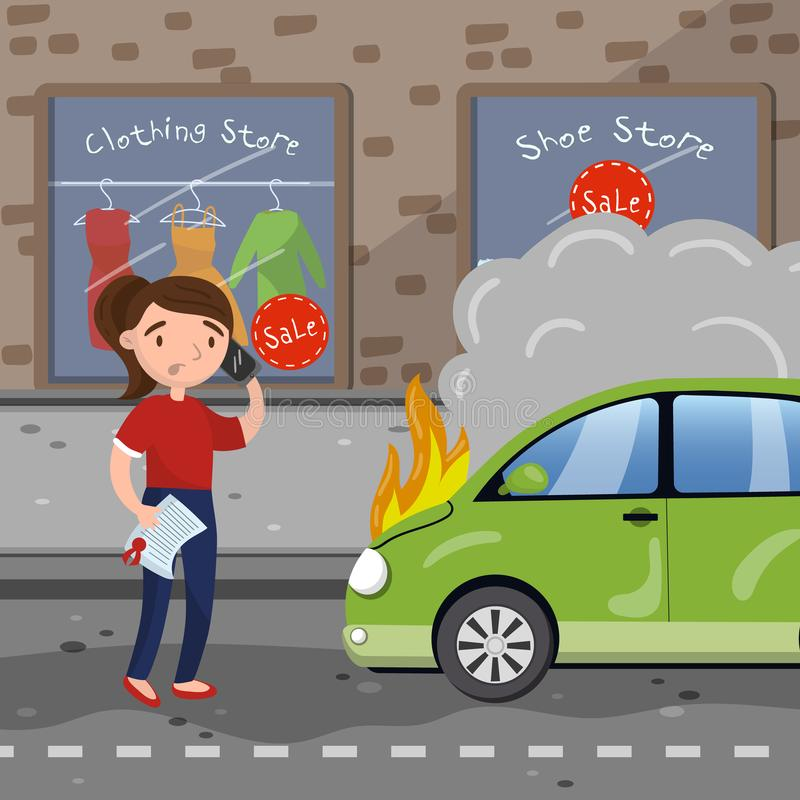 Female driver calling for help after car accident, burning car, car insurance cartoon vector Illustration royalty free illustration